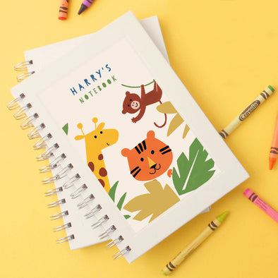 Personalised Children's Wire Bound Lined Notebook With Jungle Design