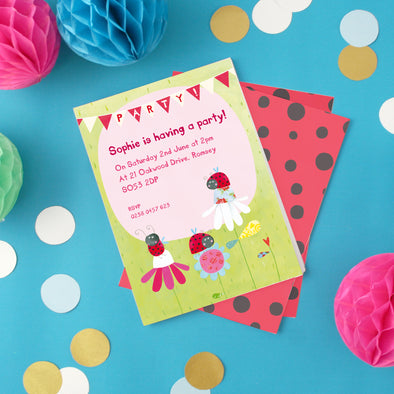 Personalised children's party invitations with ladybird illustration