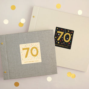 Personalised 70th Birthday Cloth Bound Photo Album With Box