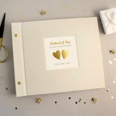 Personalised Golden Wedding Anniversary Cloth Bound Photo Album