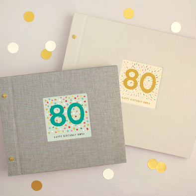 Personalised 80th Birthday Cloth Bound Photo Album With Box