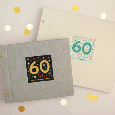 Personalised 60th Birthday Cloth Bound Photo Album With Box