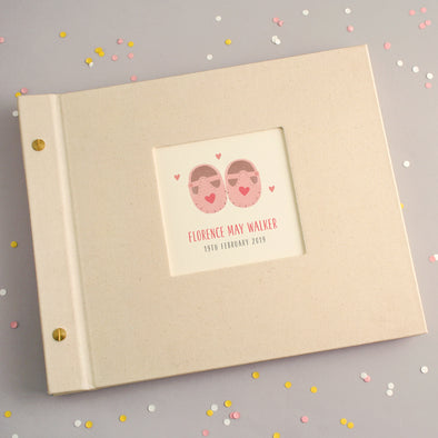 Personalised Pink Baby Shoes Photo Album