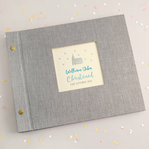 Personalised Silver Church Christening Photo Album with Blue Text