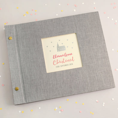 Personalised Silver Church Christening Photo Album with Pink Text