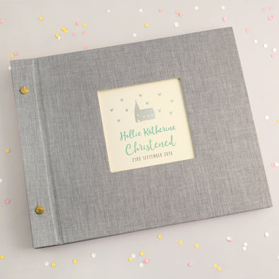 Personalised Silver Church Christening Photo Album with Turquoise Text