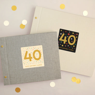 Personalised 40th Birthday Cloth Bound Photo Album With Box