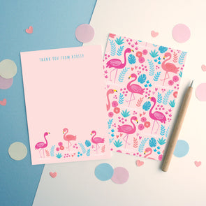 Personalised Flamingo Pattern Thank You Cards