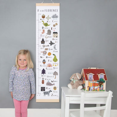Personalised Alphabet Canvas and Wood Height Chart
