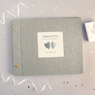Personalised Silver Wedding Anniversary Cloth Bound Photo Album