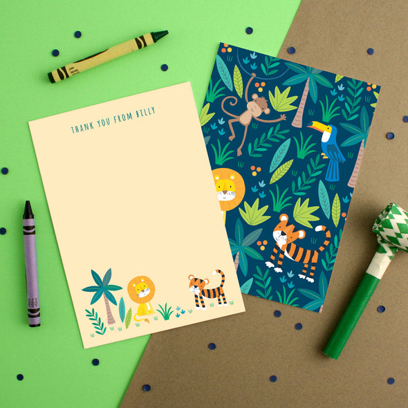 Personalised Jungle Pattern Thank You Cards