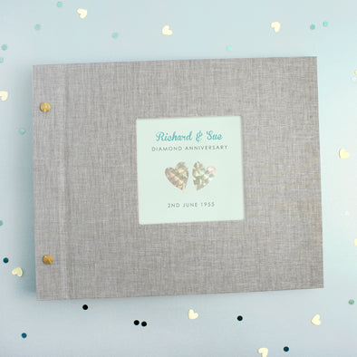 Personalised Diamond Wedding Anniversary Cloth Bound Photo Album
