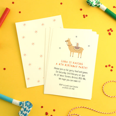 Personalised Llama Birthday Invitations