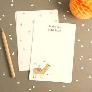 Personalised Llama Birthday Thank You Cards