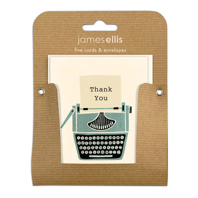 Pack of Five Typewriter Thank You Cards by James Ellis
