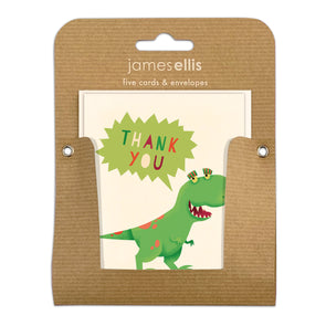 Pack of Five Dinosaur Thank You Cards by James Ellis