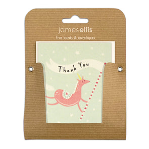 Pack of Five Unicorn Thank You Cards by James Ellis