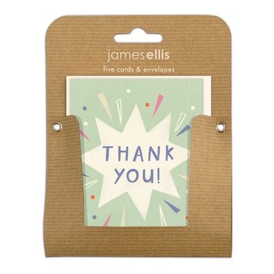 Pack of Five Exploding Star Thank You Cards by James Ellis