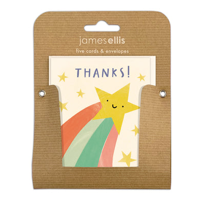 Pack of Five Shooting Star Thank You Cards by James Ellis