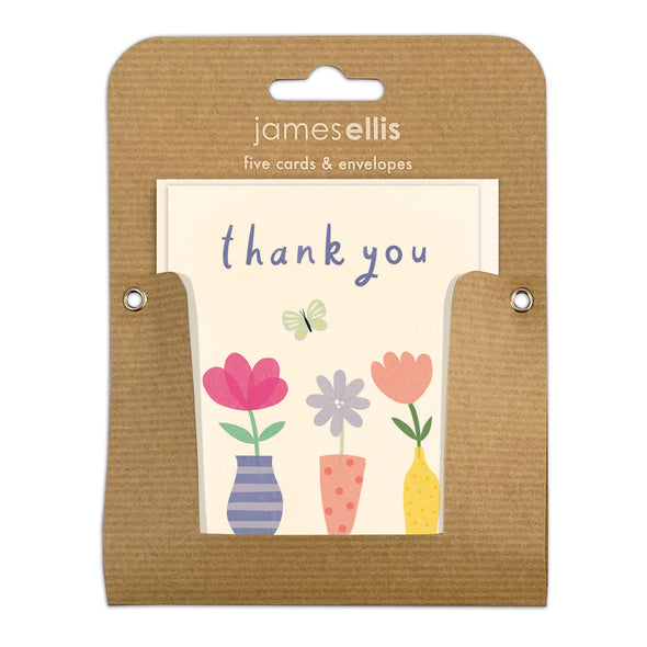 Pack of Five Flowers in Vases Thank You Cards by James Ellis