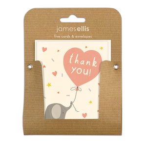 Pack of Five Elephant and Balloon Thank You Cards by James Ellis