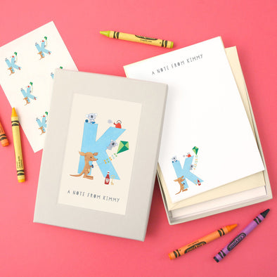 Personalised Illustrated Letter K Writing Set
