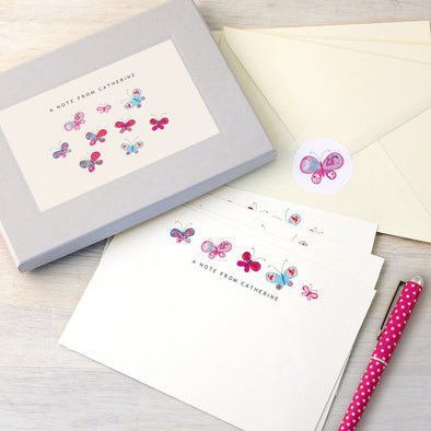 Personalised writing set with butterfly illustrations