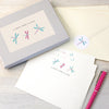 Personalised writing set with dragonflies illustration