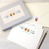 Personalised writing set with gardening illustrations