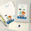 Personalised Children's Writing Set With Pirate Lion Design
