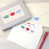 Personalised writing set with teapots design