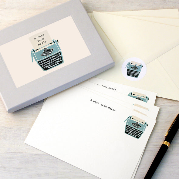 Personalised writing set with typewriter design