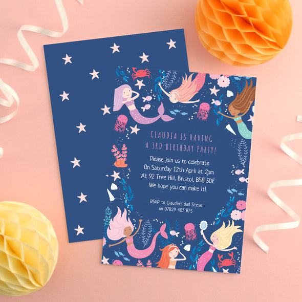 Personalised Mermaid Pattern Birthday Invitations