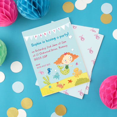 Personalised Mermaid Children's Party Invitations