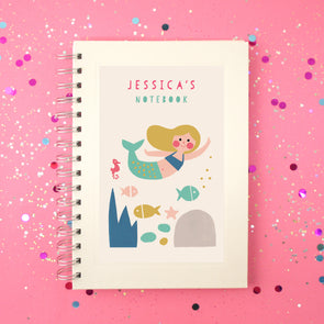 personalised mermaid notebook
