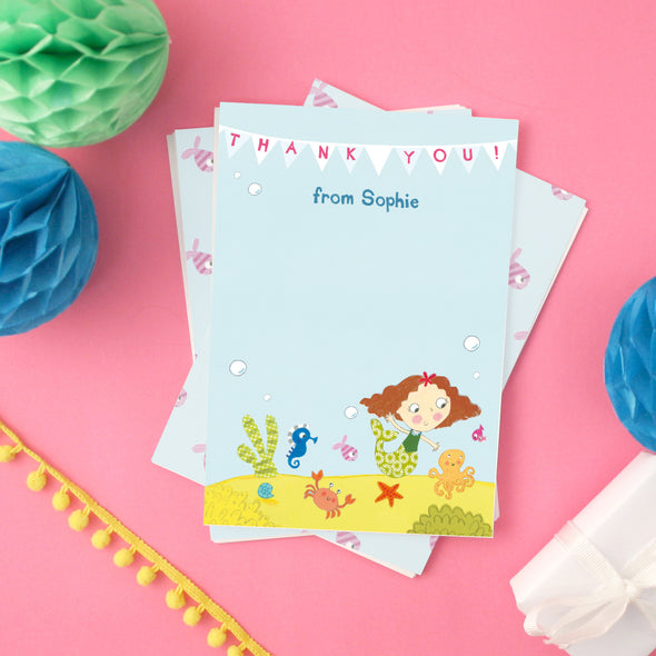 Personalised Mermaid Children's Thank You Cards