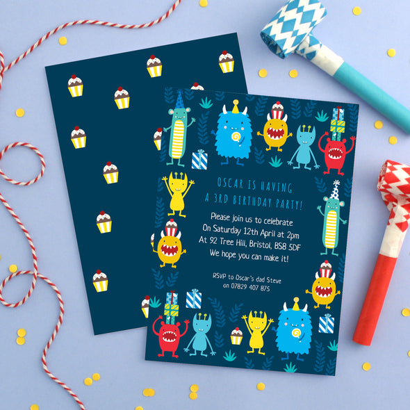 Personalised Monster Pattern Birthday Invitations