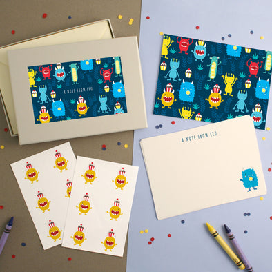 Personalised Monster Pattern Writing Set
