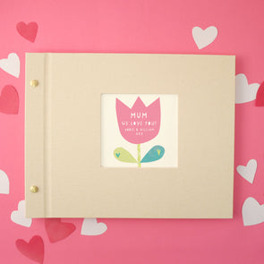 Personalised Mother's Day Cloth Bound Photo Album With Tulip Design