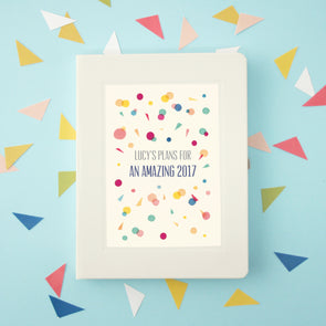 Personalised Motivational Confetti Pattern Hardback Lined Notebook