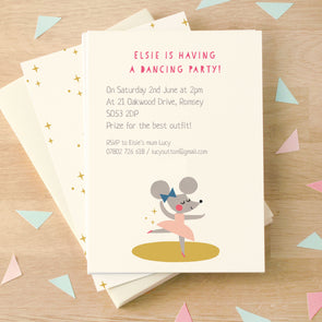 Personalised Ballerina Mouse Children's Birthday Party Invitations