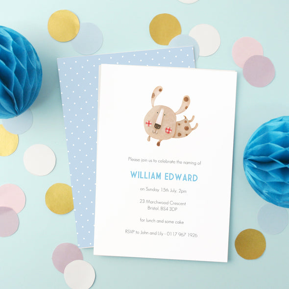 Personalised Naming Day Invitations With Puppy Illustration