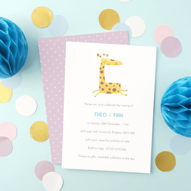 Personalised Twins Naming Day Invitations