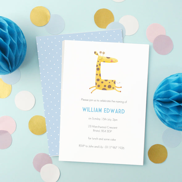 Personalised Naming Day Invitations With Giraffe Illustration