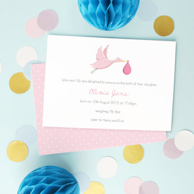 Personalised Pink New Baby Announcement Cards