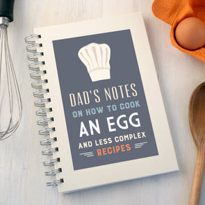 Personalised funny recipe notebook with chefs hat illustration