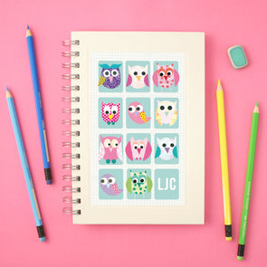 Owl notebook with personalised initials