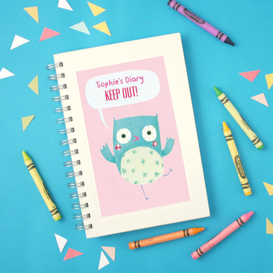 Personalised Children's notebook with owl design