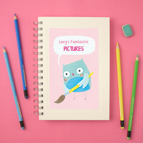 personalised children's drawing book with owl illustration