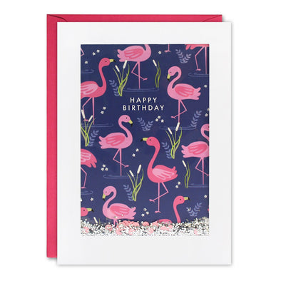 PH2991 - Flamingo Pattern Rectangular Shakies Card